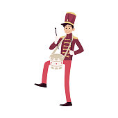 Parade and marching band participant, young drummer playing drum. Parade musician with a drum and drum sticks. Isolated vector man in flat cartoon style on white background.