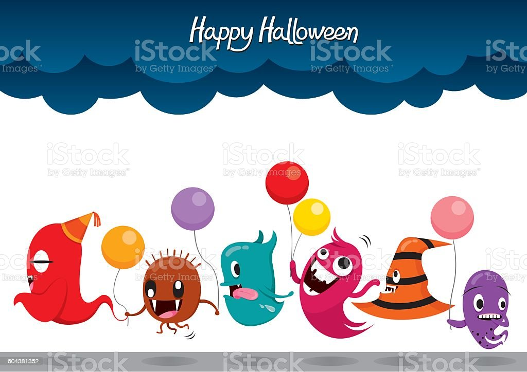 Parade Of Monsters Funny Halloween Party vector art illustration