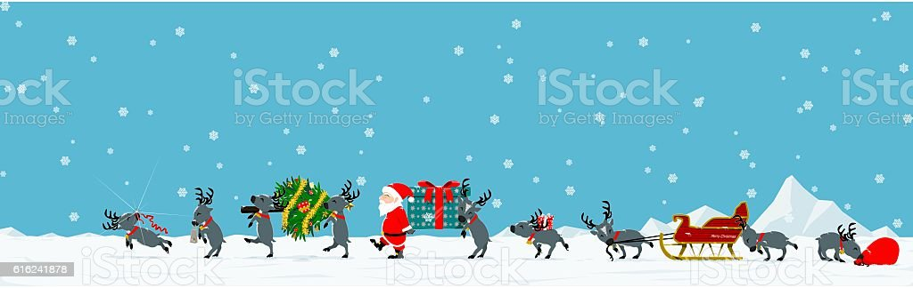 Parade of Santa vector art illustration