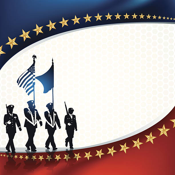 "Parade Soldiers with Patriotic Background Parade Soldiers with Patriotic Background. Graphic silhouette illustration of Military Parade Soldiers Carrying Flags with patriotic background. Check out my ""World War Two"" light box for more. major military rank stock illustrations"