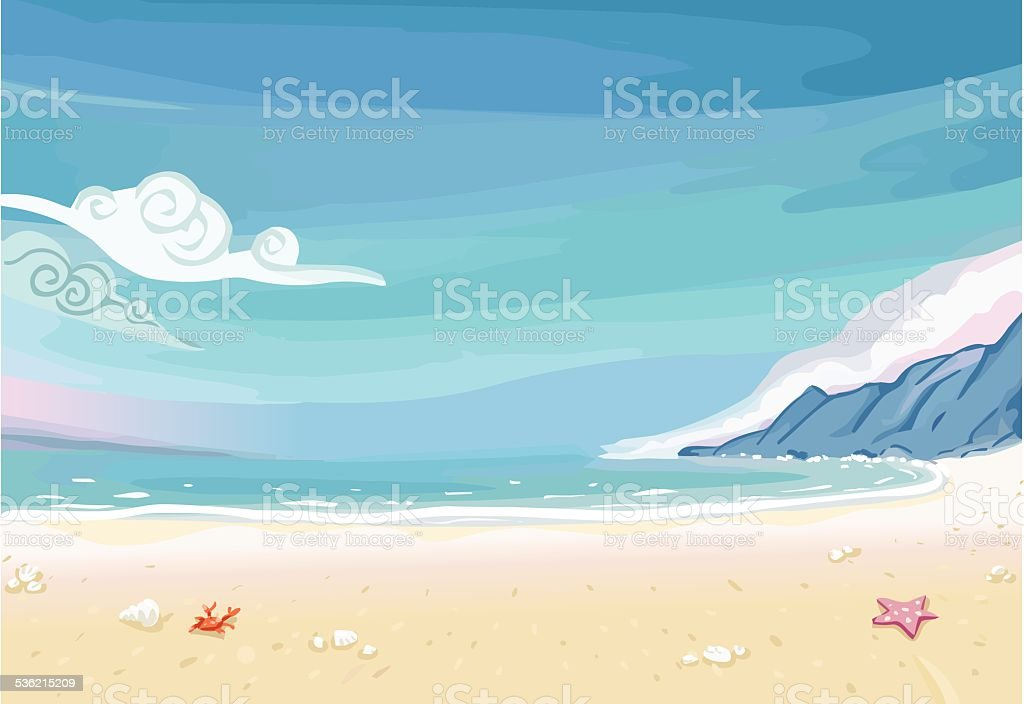Paradise Beach Lagoon Landscape vector art illustration