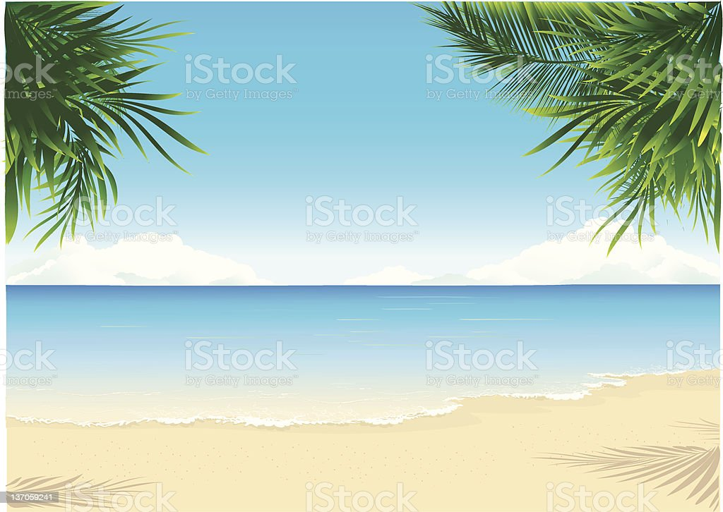Paradise Beach vector art illustration