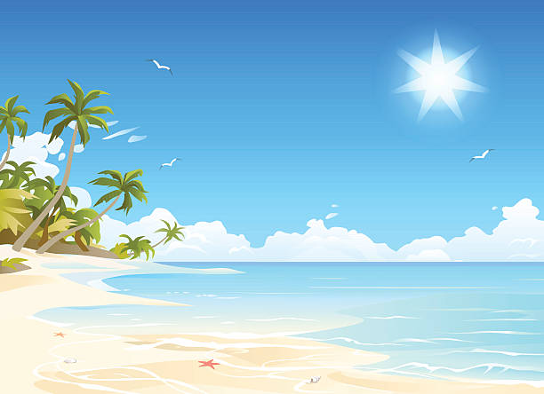 Paradise Beach Illustration of a tropical white sand beach with palm trees. EPS 10 (transparency effect used for the sun), labeled in layers. idyllic stock illustrations
