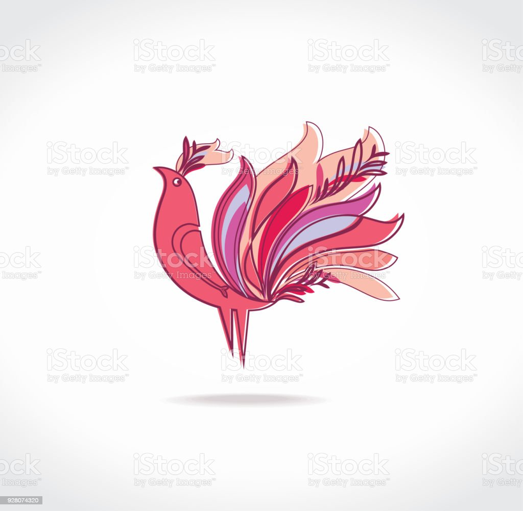 Paradise bird with magnificent feathers. vector art illustration