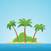 Paradise in Hawaii. Tropical island in the sea with palms and bush. Place to spend a vacation away from civilization.