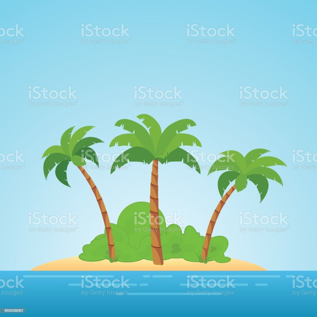 Paradise in Hawaii. Tropical island in the sea with palms and bush. Place to spend a vacation away from civilization. vector art illustration