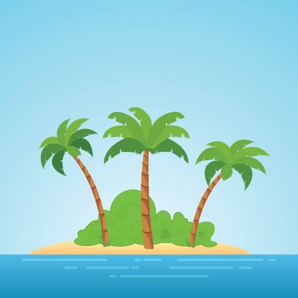 bildbanksillustrationer, clip art samt tecknat material och ikoner med paradiset på hawaii. tropisk ö i havet med palmer och bush. ställe att tillbringa en semester borta från civilisationen. - ö