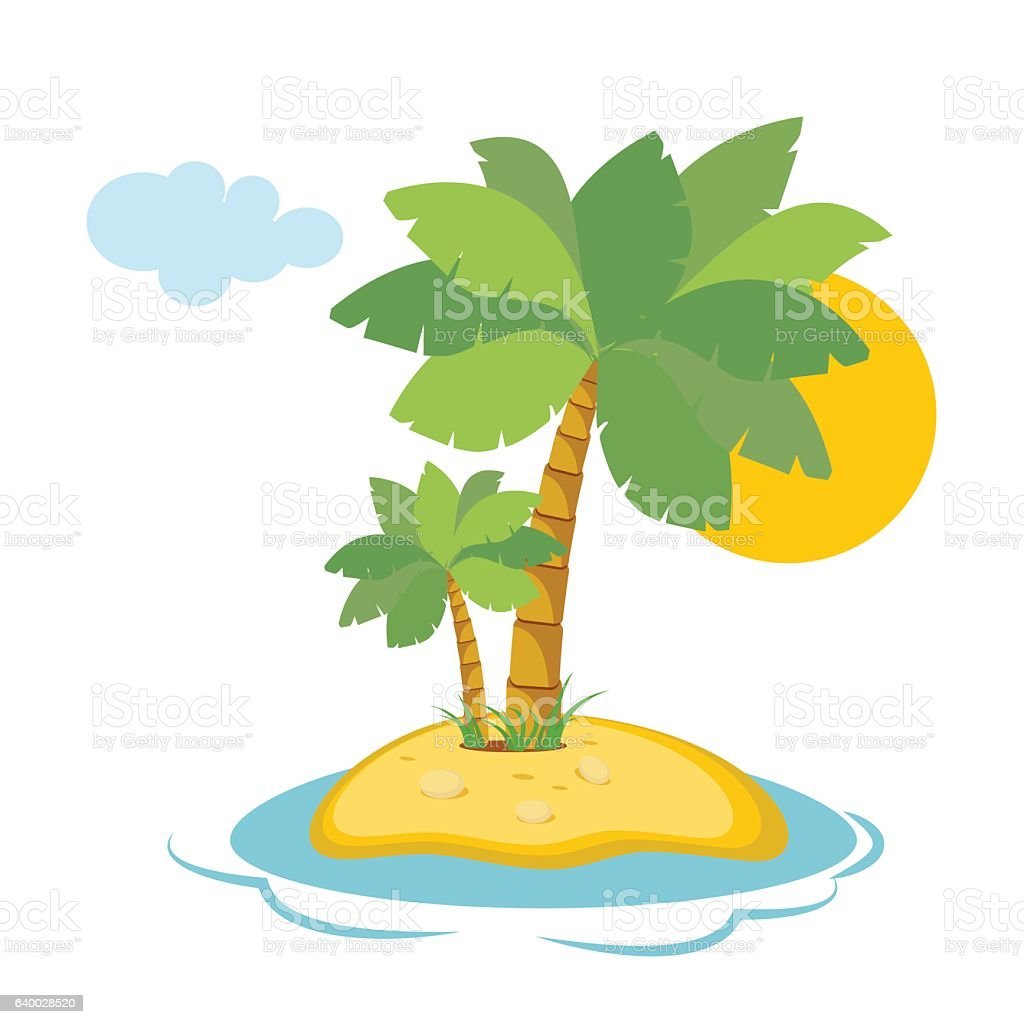 paradise island in the sea with palm trees and sunshine stock vector rh istockphoto com island vector free island vector free