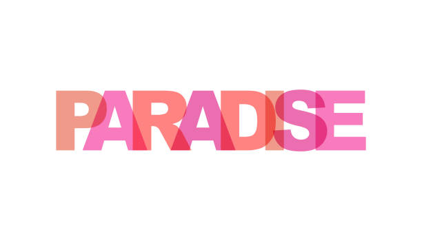 Paradise, phrase overlap color no transparency. Concept of simple text for typography poster, sticker design, apparel print, greeting card or postcard. Graphic slogan isolated on white background. Paradise, phrase overlap color no transparency. Concept of simple text for typography poster, sticker design, apparel print, greeting card or postcard. Graphic slogan isolated on white background. Vector illustration. idyllic stock illustrations