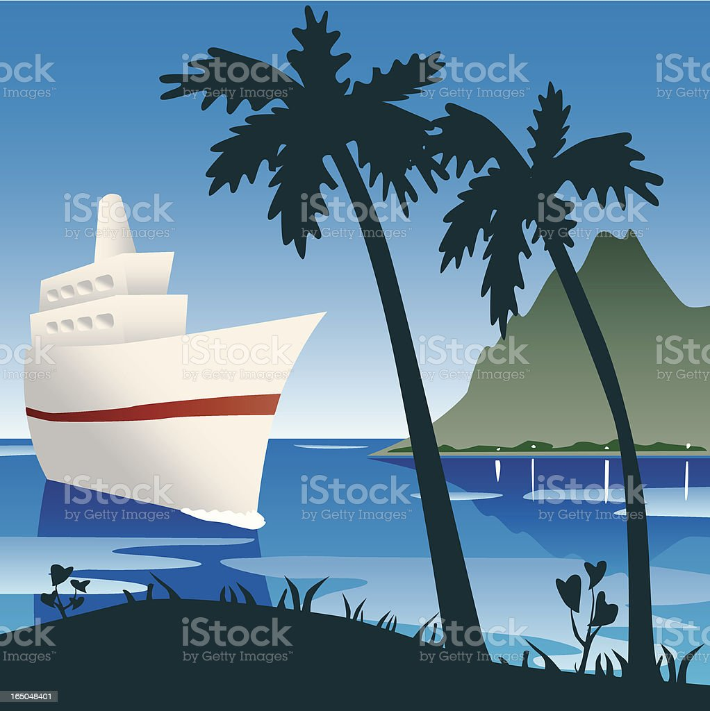 Paradise Tropical Vacation Cruis Island royalty-free stock vector art