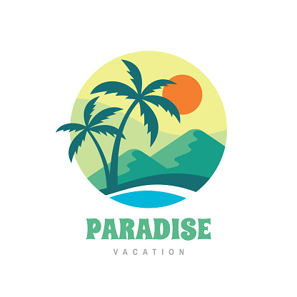 Paradise vacation - concept business sign vector illustration in flat style. Tropical summer holiday creative badge. Palms, island, beach, sea wave. Travel webbanner or poster. Graphic t-shirt design.