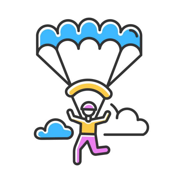 ilustrações, clipart, desenhos animados e ícones de ícone de cores de parapente. paraquedismo, atividade de paraquedismo. esporte extremo aéreo. paraquedismo, recreação de asa delta. vôos no céu e saltos com pára-quedas. ilustração vetorial isolada - ícones de design planar