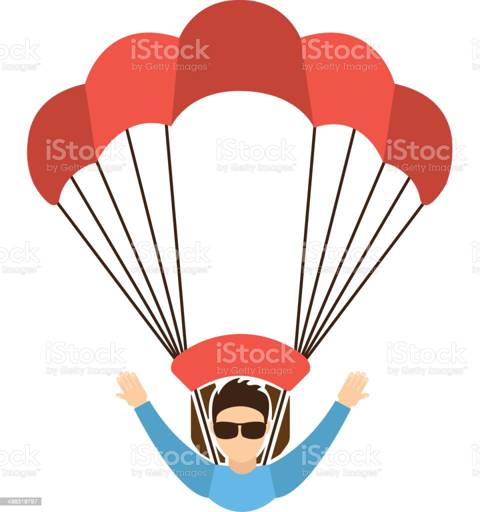 Paragliding design vector art illustration
