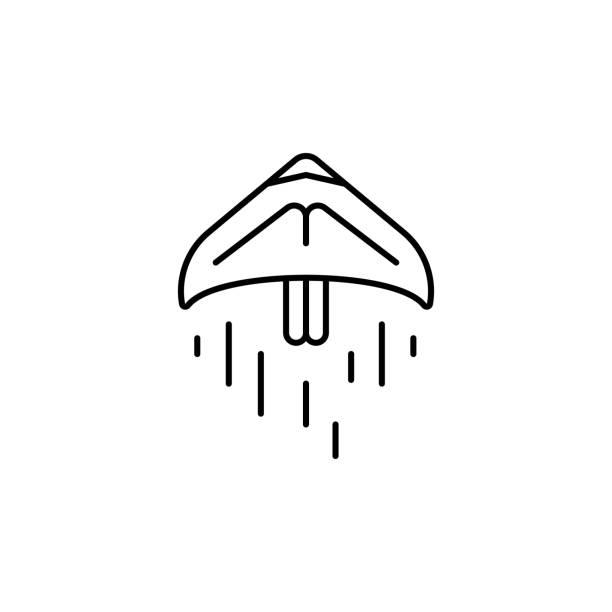 ilustrações, clipart, desenhos animados e ícones de ícone do paragliding. linha fina simples, vetor do esboço de ícones da aventura para o ui e o ux, o web site ou a aplicação móvel - ícones de design planar