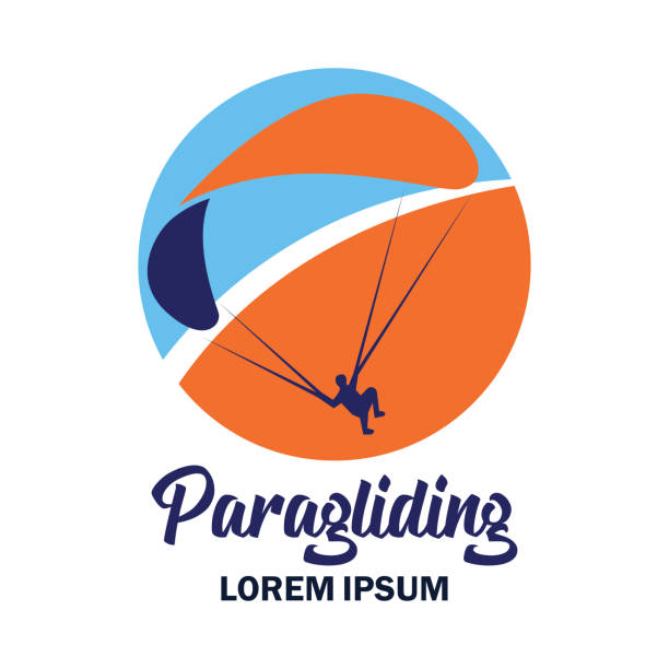 ilustrações de stock, clip art, desenhos animados e ícones de paragliding insignia with text space for your slogan / tag line, vector illustration - parapente