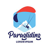 Paragliding insignia with text space for your slogan / tag line, vector illustration