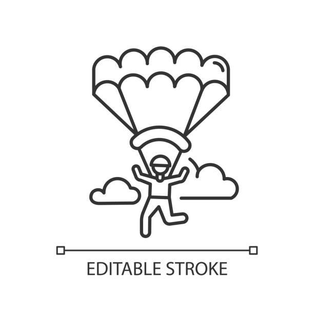 ilustrações, clipart, desenhos animados e ícones de ícone linear de parapente. paraquedismo, atividade de paraquedismo. paraquedismo, recreação de asa delta. vôos no céu e saltos com pára-quedas. símbolo de contorno. desenho isolado vetorial. traçado editável - ícones de design planar