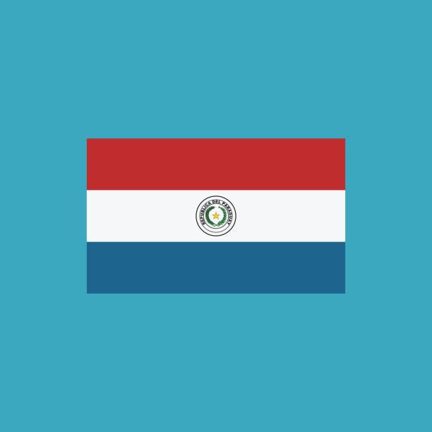 Icono de la bandera de Paraguay en diseño plano - ilustración de arte vectorial