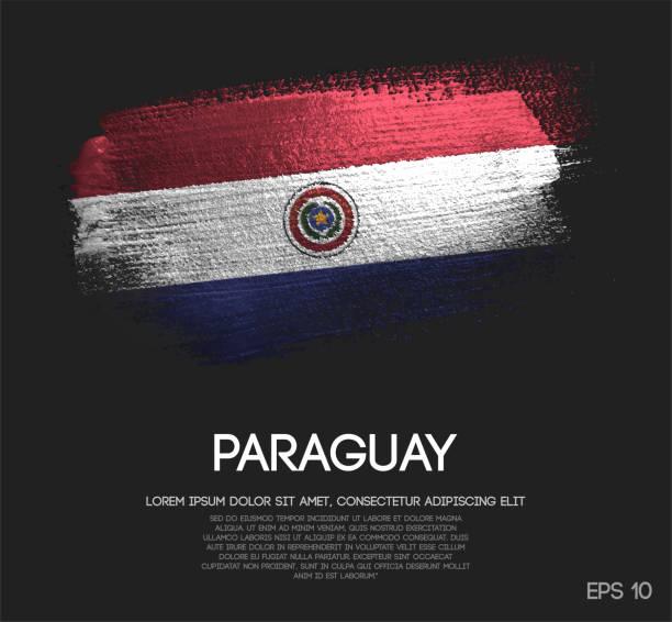 Bandera de Paraguay de brillo brillo brocha Pintura vectorial - ilustración de arte vectorial