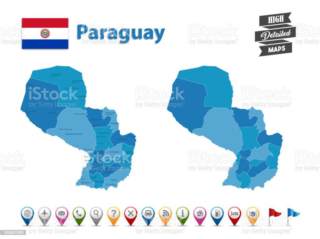 Paraguay - mapa detallado alta con GPS Icon Collection - ilustración de arte vectorial