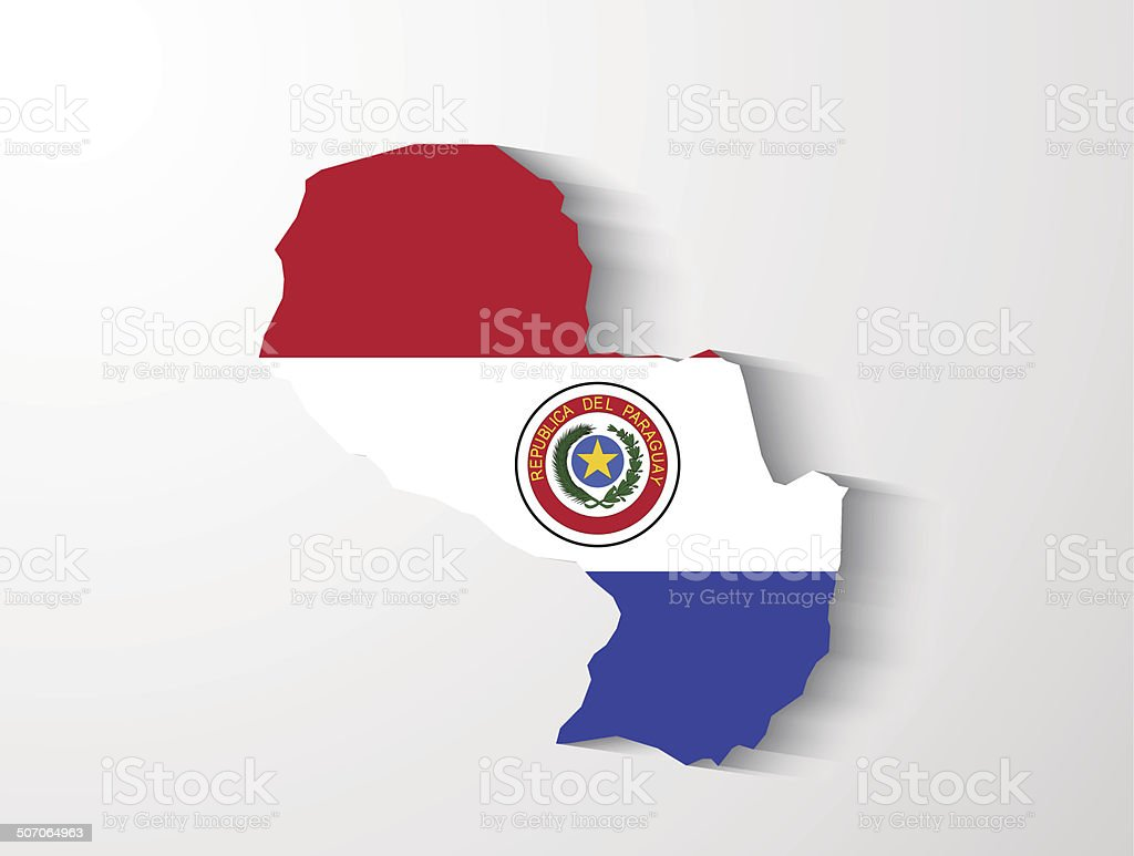 Paraguay map with shadow effect presentation royalty-free stock vector art