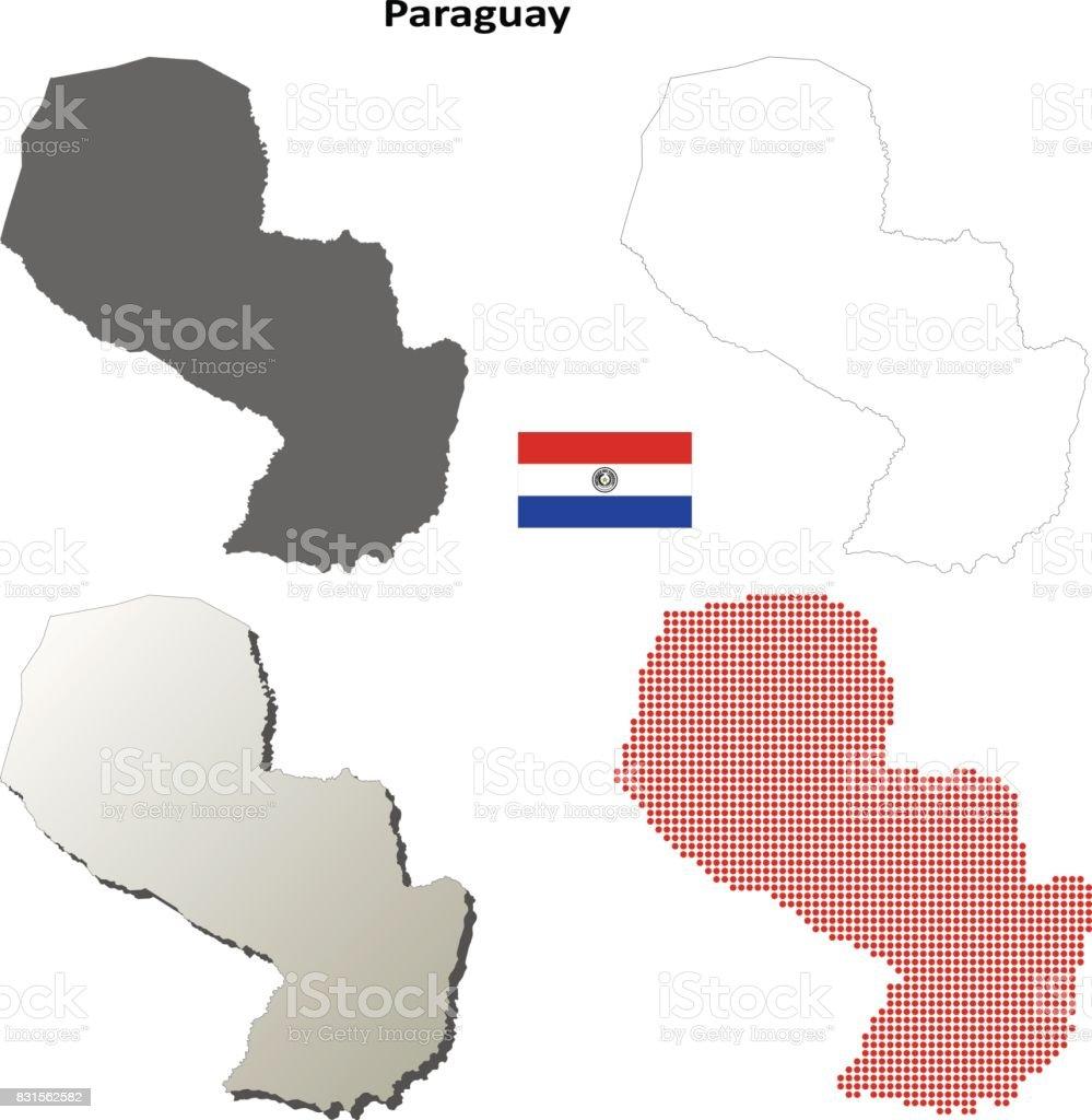 Sistema de mapa de contorno de Paraguay - ilustración de arte vectorial