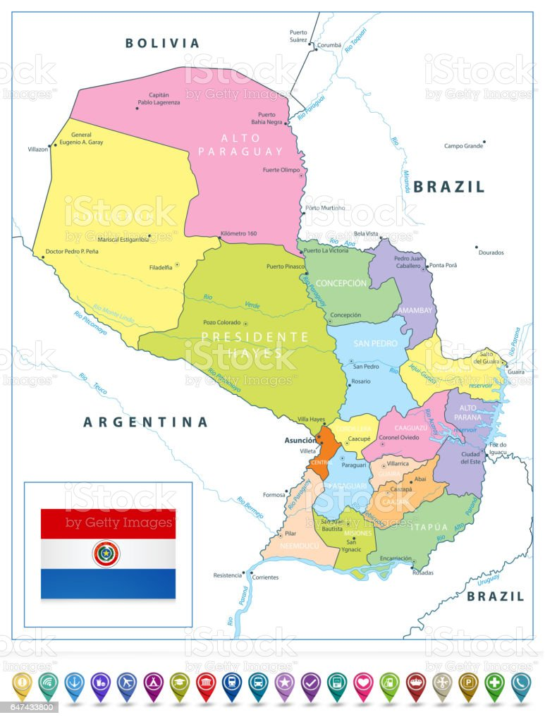 Paraguay political map and map pointers isolated on white stock paraguay political map and map pointers isolated on white royalty free stock vector art sciox Images