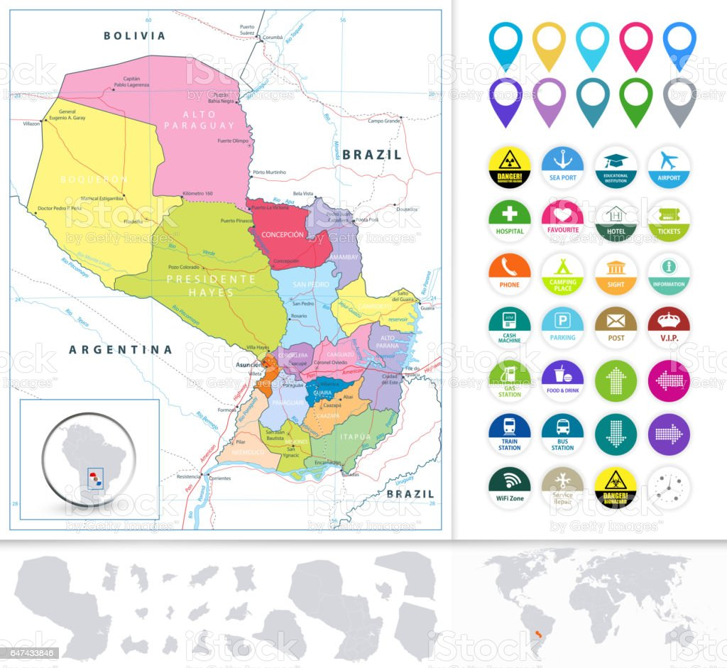 paraguay road map and flat icon set stock vector art more images
