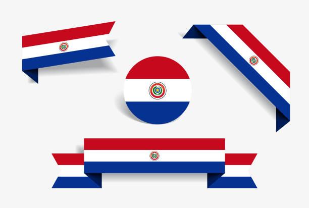 Etiquetas y pegatinas de la bandera paraguaya. Ilustración de vector. - ilustración de arte vectorial