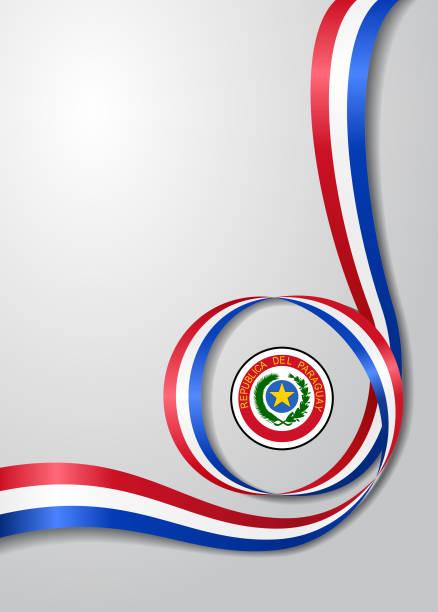Fondo ondulado de la bandera paraguaya. Ilustración de vector. - ilustración de arte vectorial