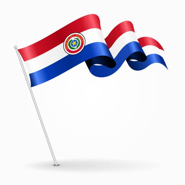 Bandera ondulada pin paraguayo. Ilustración de vector. - ilustración de arte vectorial