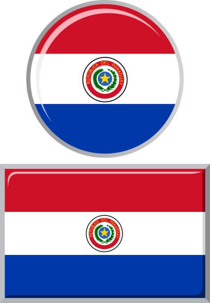 Paraguayo redondo y cuadrado icono bandera. Ilustración vectorial - ilustración de arte vectorial