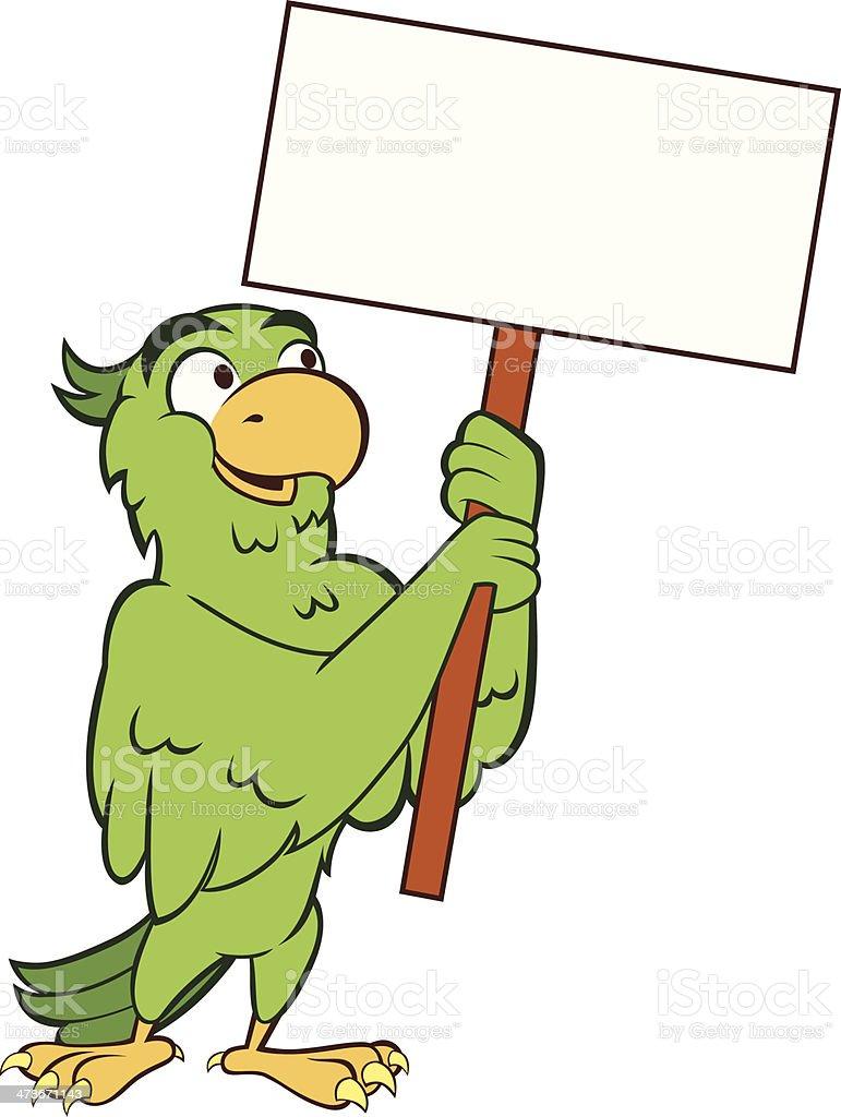 Parakeet - Holding Sign vector art illustration