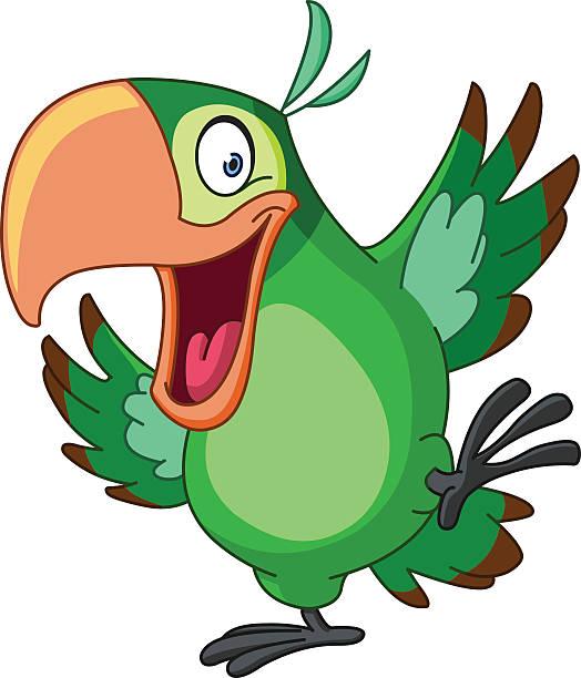 parakeet Happy parrot dancing bird clipart stock illustrations