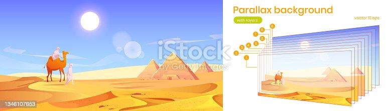 istock Parallax background Egypt desert with pyramids 1346107653