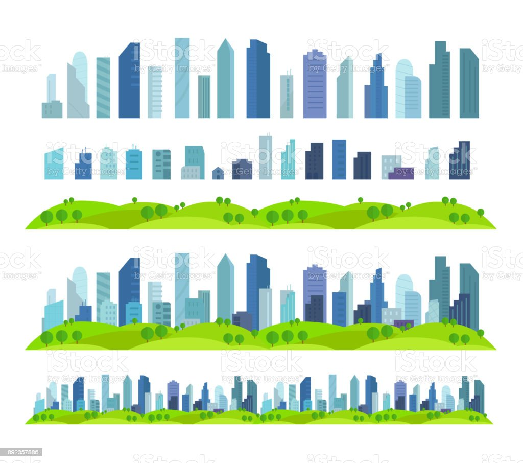 Parallax Effect Ready City future Building skyscraper Separate scenes architecture and landscape vector art illustration