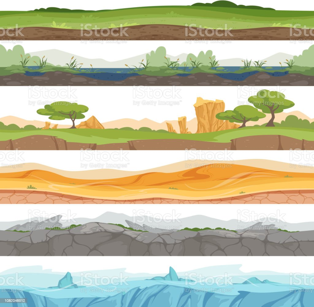 Parallax Seamless Ground Game Landscape Ice Grass Water Desert Dirt Rock Vector Cartoon Background Stock Illustration Download Image Now Istock