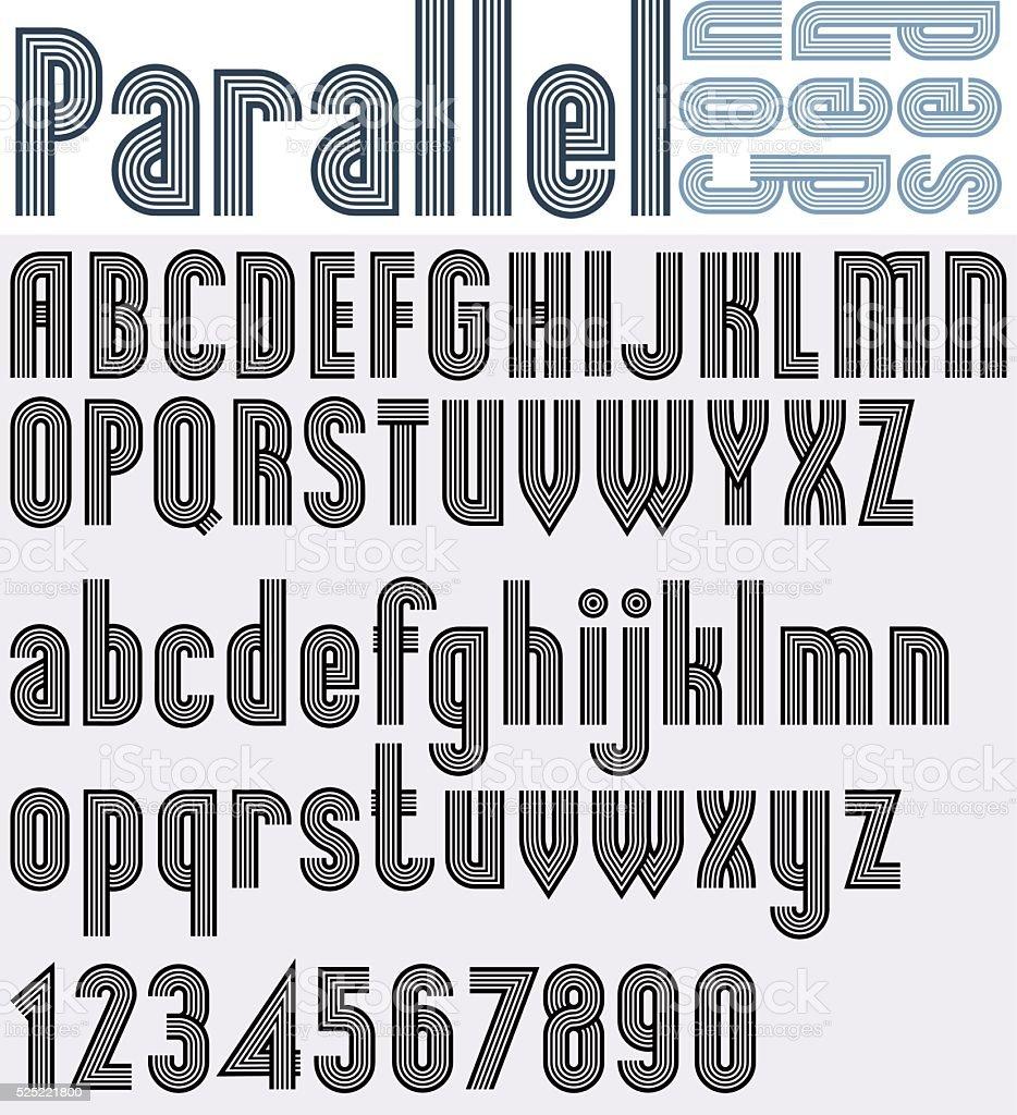 Parallel Schwarzweiß Schrift Mit Zahlen Gestreifte Plakat Buchstaben