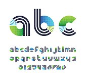 Parallel lines and color blocks' latin font, graphical lower case decorative type and numbers.