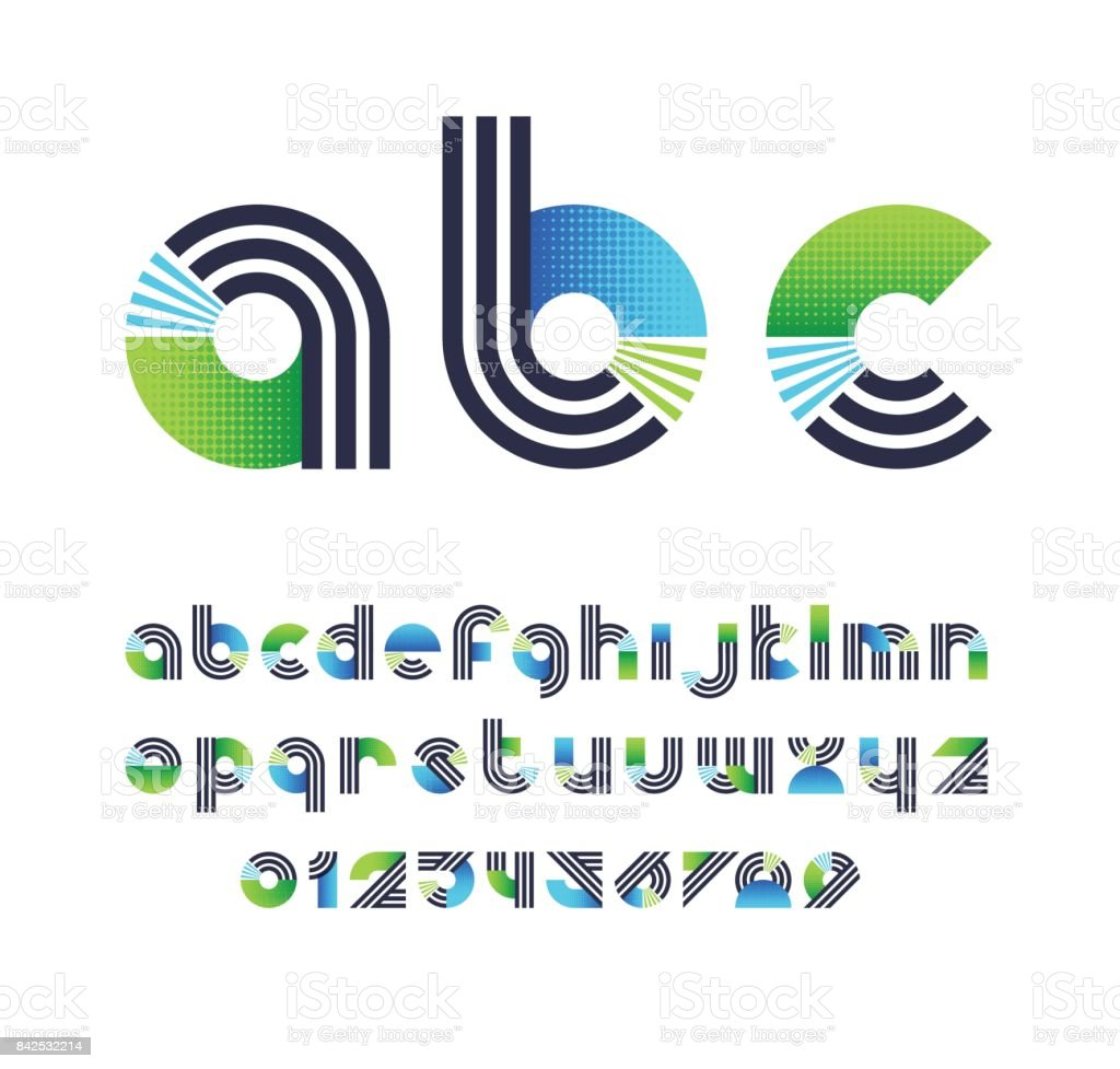 Parallel lines and color blocks' latin font, graphical lower case decorative type and numbers. vector art illustration