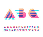 Parallel lines and color gradient blocks' latin font