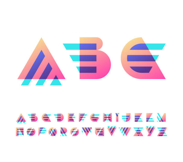 parallel lines and color gradient blocks' latin font - alphabet patterns stock illustrations
