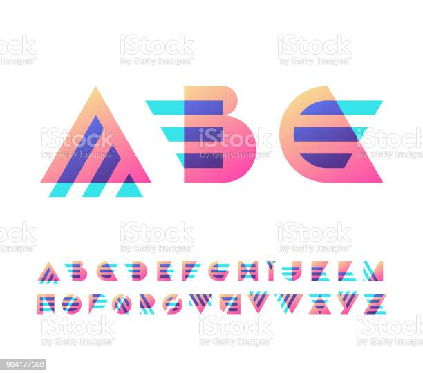 Parallel Lines En Kleur Verloop Blokken Latijns Lettertype Stockvectorkunst en meer beelden van Afabetische volgorde