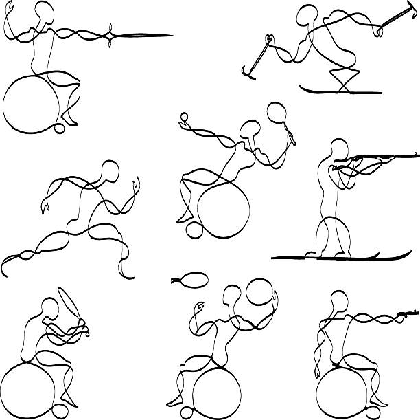 paralympic sports - wheelchair sports stock illustrations, clip art, cartoons, & icons