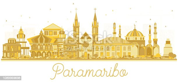 Paramaribo Suriname City Skyline Silhouette with Golden Buildings Isolated on White. Vector Illustration. Tourism Concept with Modern Architecture. Paramaribo Cityscape with Landmarks.