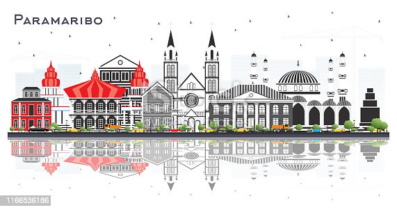 Paramaribo Suriname City Skyline with Gray Buildings and Reflections Isolated on White. Vector Illustration. Business Travel and Tourism Concept with Modern Architecture. Paramaribo Cityscape with Landmarks.