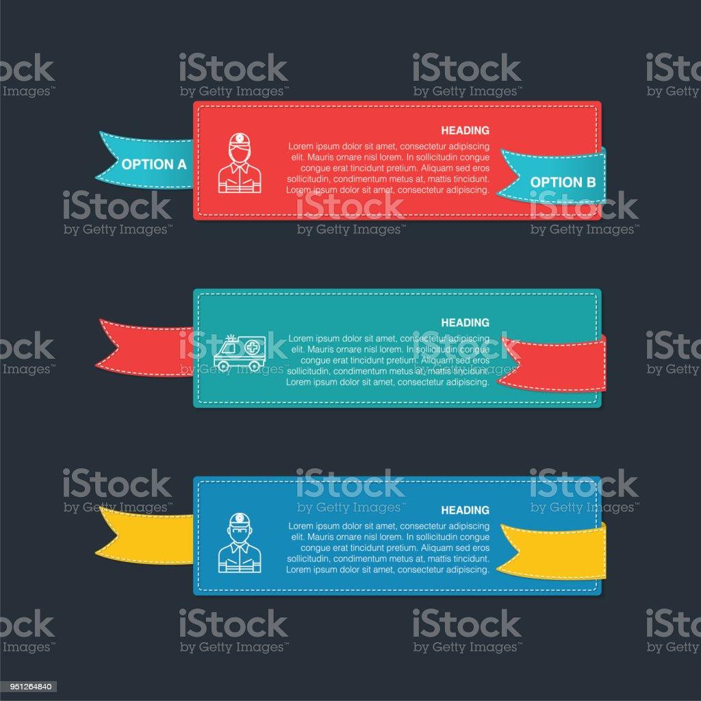 Ilustración de Iconos De Paramédico En Coloridas Pancartas y
