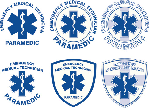 Illustration of six EMT or paramedic designs with star of life medical symbols.