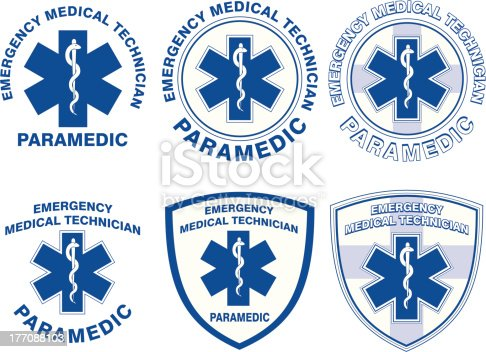 Illustration of six EMT or paramedic designs with star of life medical symbols.