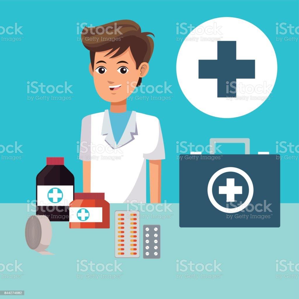 Ilustración de Gente De Paramédico Cruz Salud Medicina y más